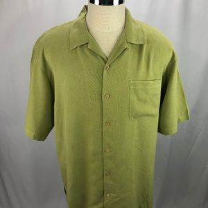 Tommy Bahama Mens Green Silk Camp Shirt L